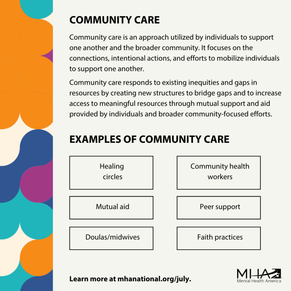 Community care poster graphic with examples