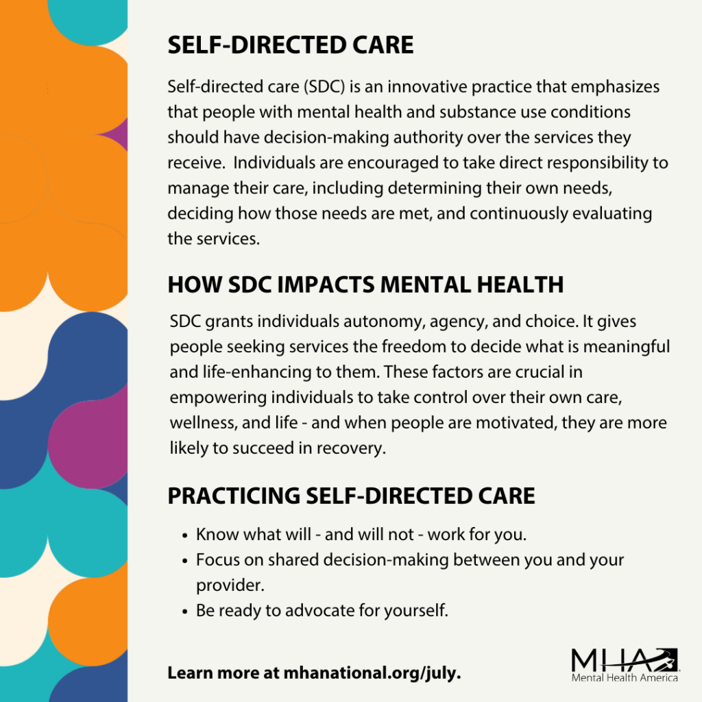 Self-directed care poster graphic with examples
