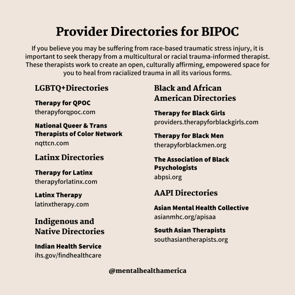 Provider directory for BIPOC
